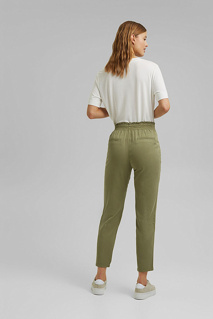 Paperbag trousers made of lyocell/organic cotton, LIGHT KHAKI, detail image number 3