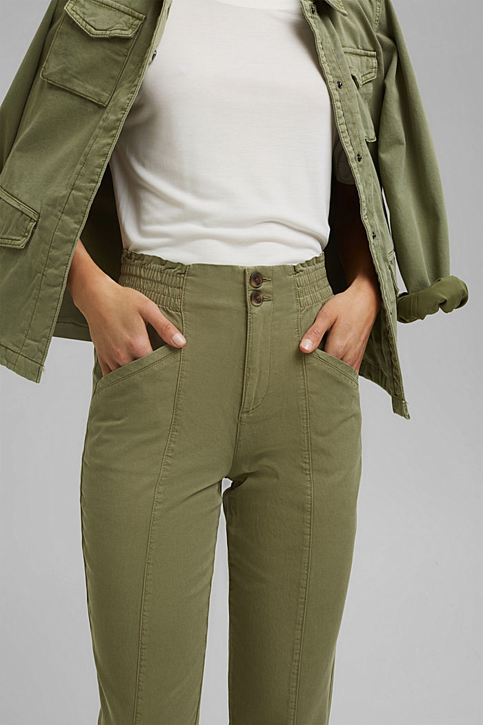 Paperbag trousers made of lyocell/organic cotton, LIGHT KHAKI, detail image number 2