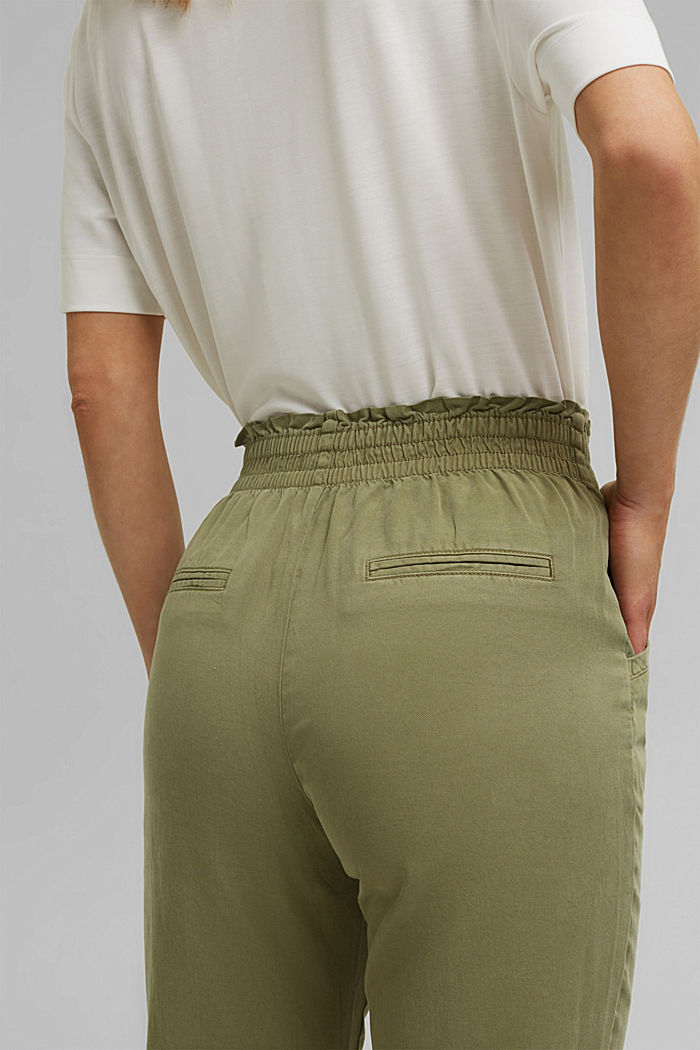 Paperbag trousers made of lyocell/organic cotton, LIGHT KHAKI, detail image number 5