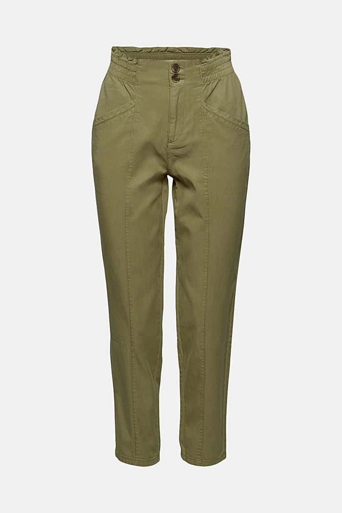 Paperbag trousers made of lyocell/organic cotton, LIGHT KHAKI, overview