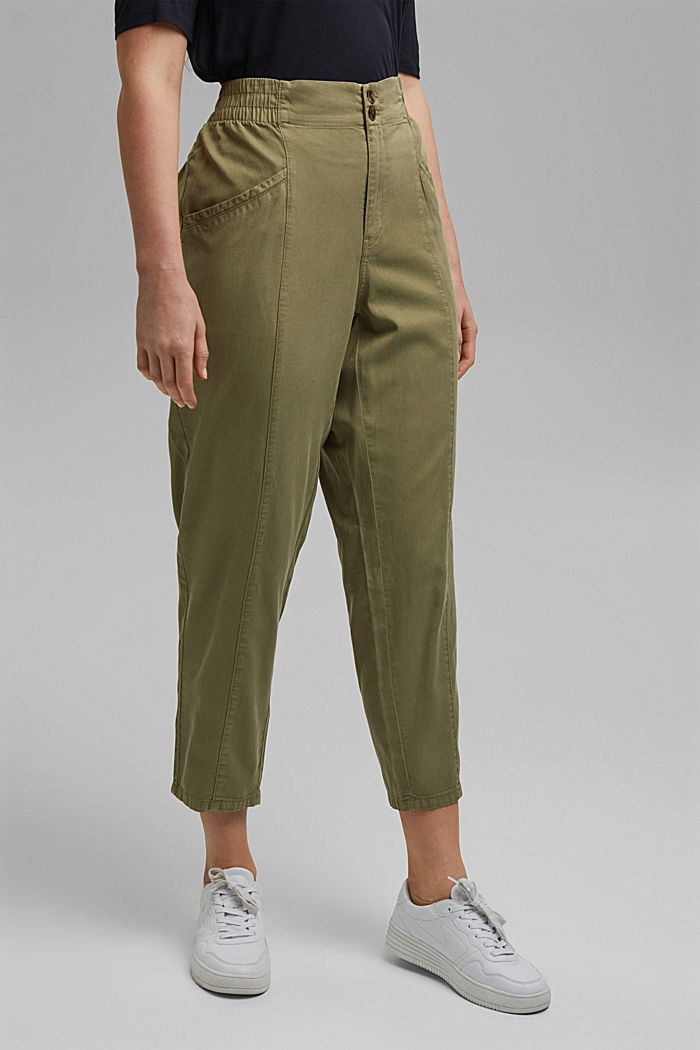 CURVY trousers made of lyocell/organic cotton, LIGHT KHAKI, detail image number 0