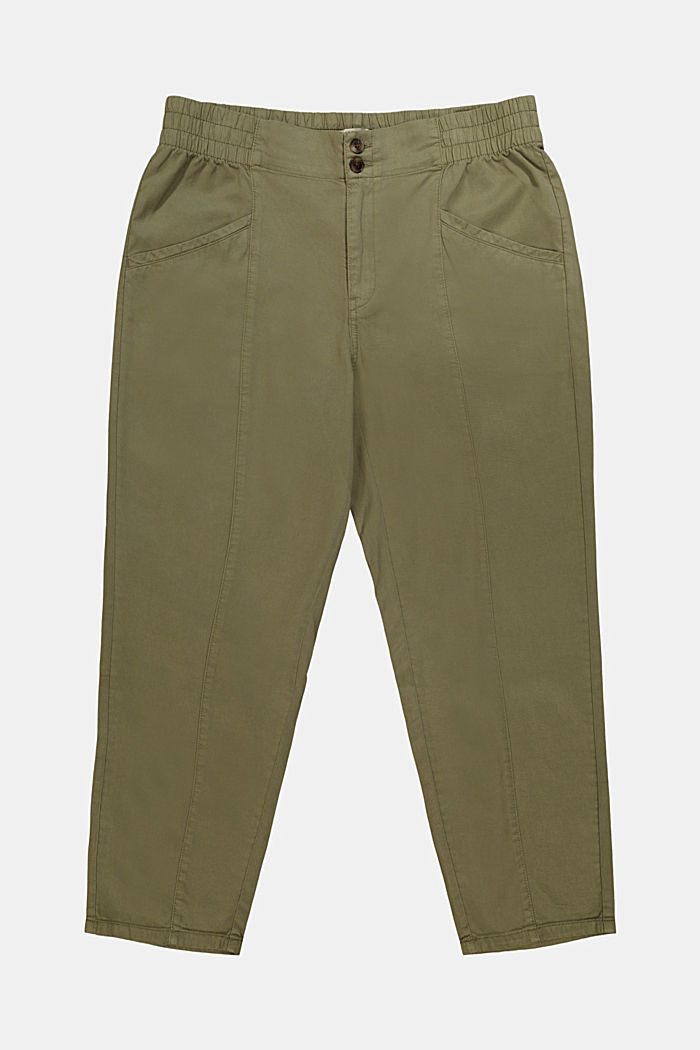 CURVY trousers made of lyocell/organic cotton, LIGHT KHAKI, detail image number 1