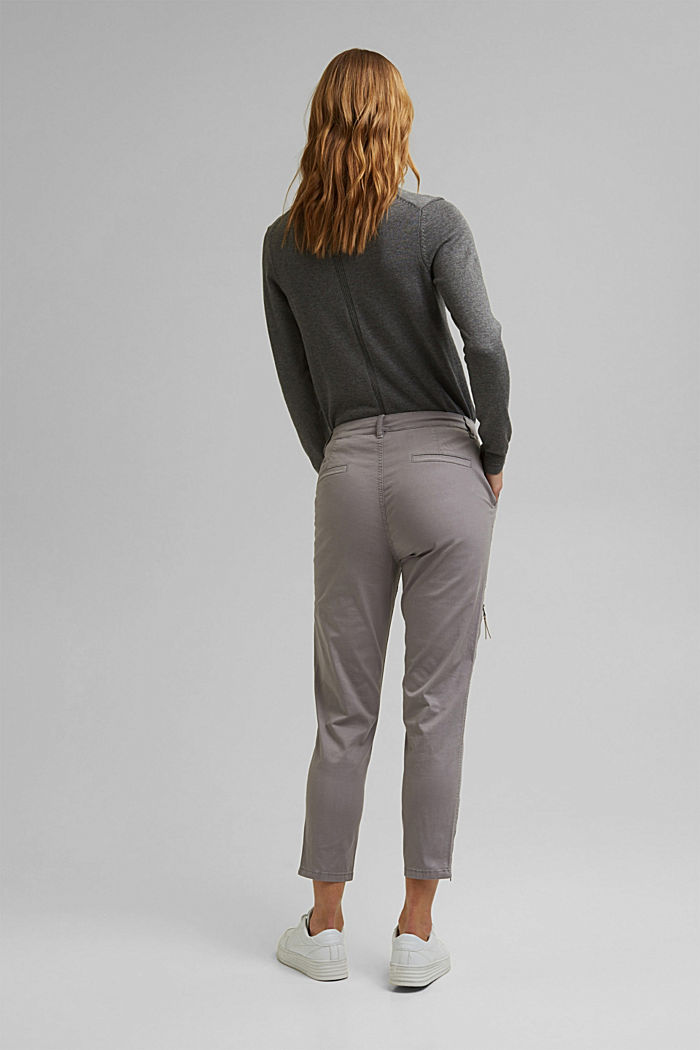 Cargo trousers made of pima cotton, LIGHT GREY, detail image number 3