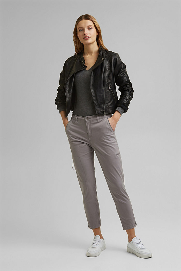 Pantalon cargo en coton Pima, LIGHT GREY, detail image number 1