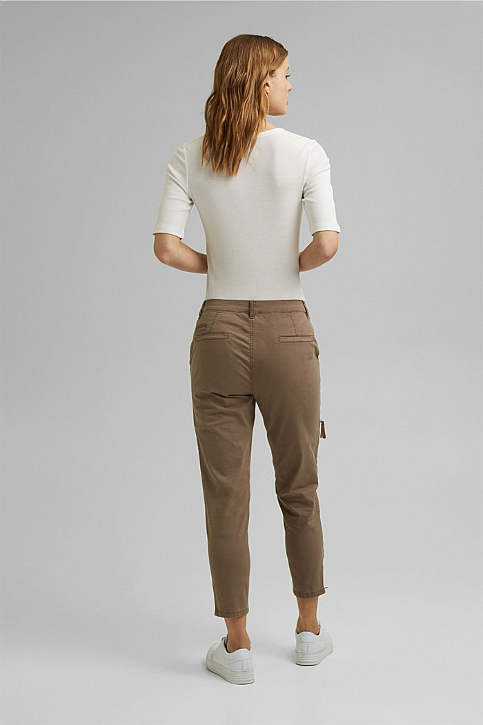 Cargo trousers made of pima cotton, TAUPE, detail image number 3
