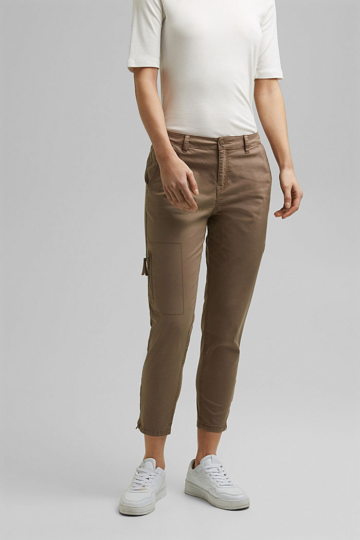 Cargo trousers made of pima cotton, TAUPE, detail image number 6