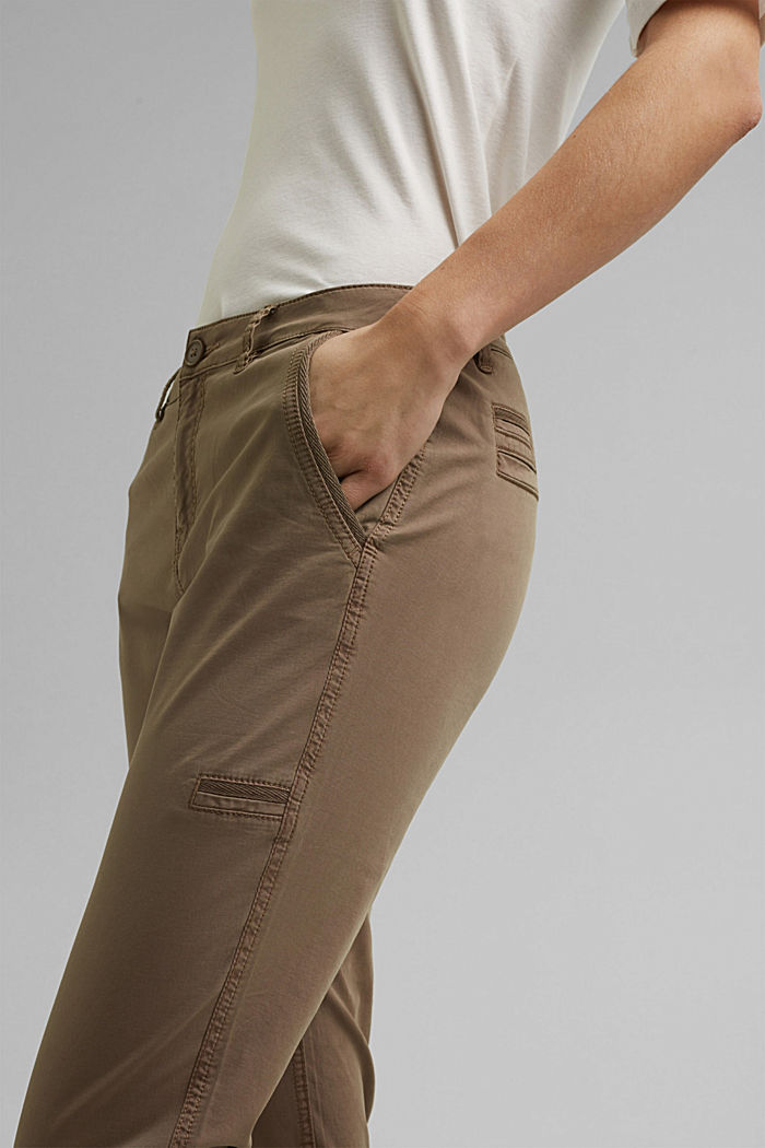 Cargo trousers made of pima cotton, TAUPE, detail image number 2