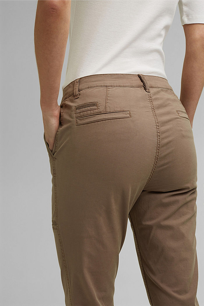 Cargo trousers made of pima cotton, TAUPE, detail image number 5