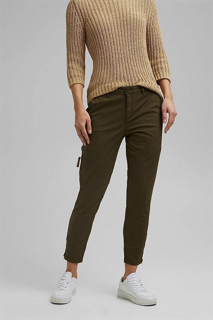 Pantaloni cargo in cotone biologico, KHAKI GREEN, detail image number 0
