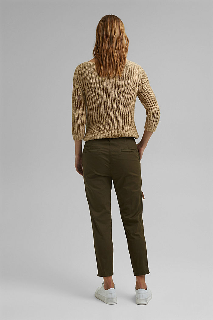 Pantaloni cargo in cotone biologico, KHAKI GREEN, detail image number 3