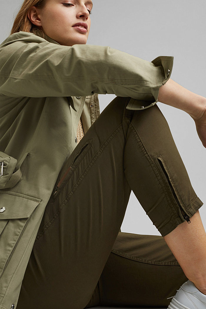 Pantaloni cargo in cotone biologico, KHAKI GREEN, detail image number 6