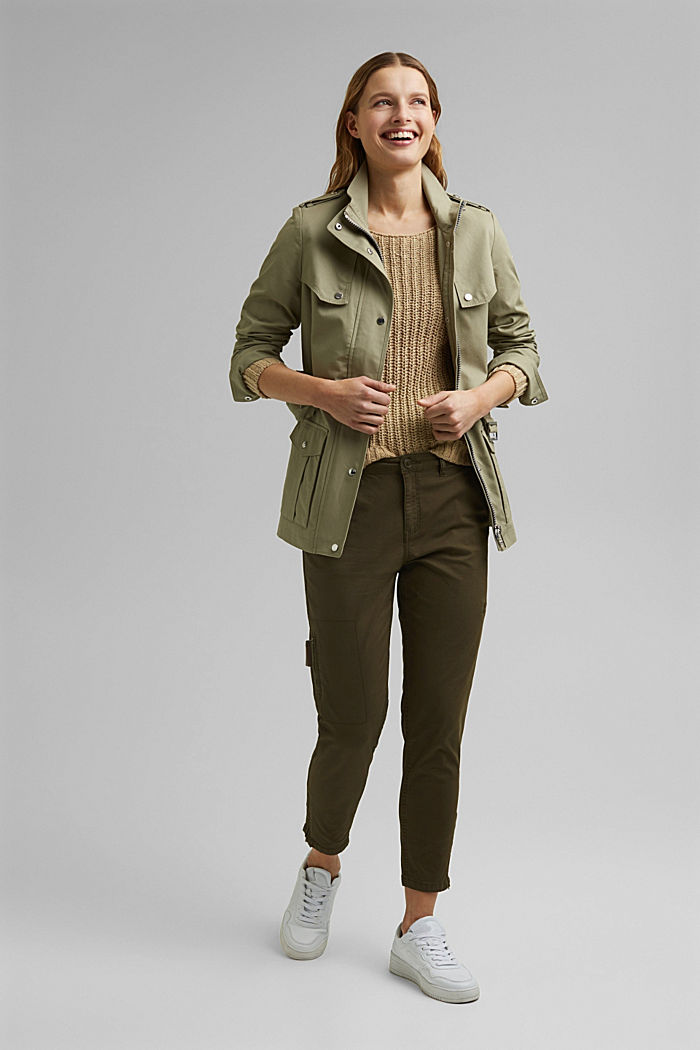 Pantaloni cargo in cotone biologico, KHAKI GREEN, detail image number 1
