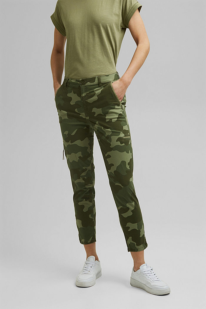 Camouflage cargo trousers made of pima cotton
