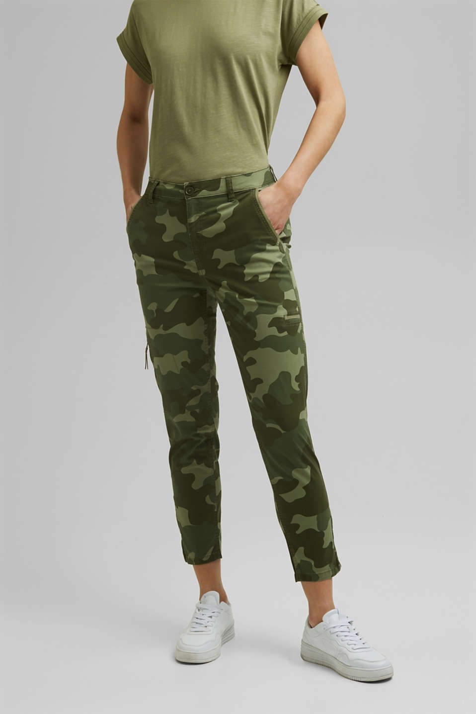 Esprit - Camouflage cargo trousers made of pima cotton