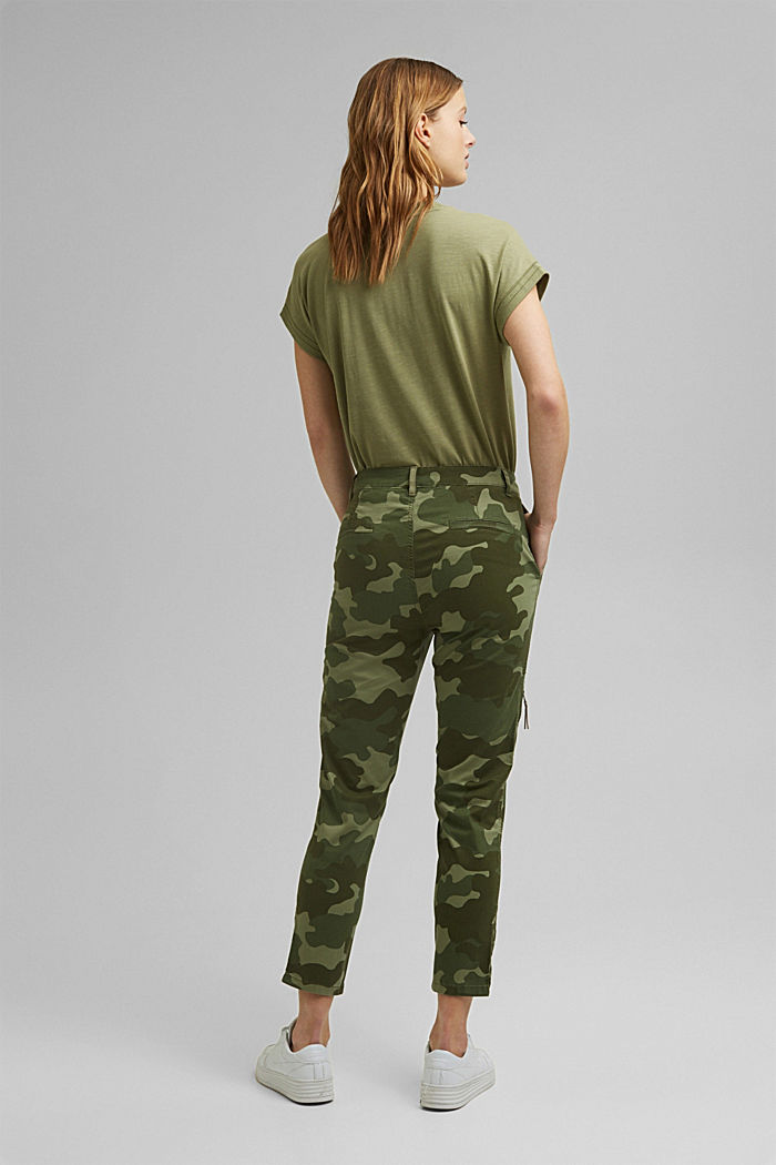 Camouflage cargo trousers made of pima cotton, LIGHT KHAKI, detail image number 3