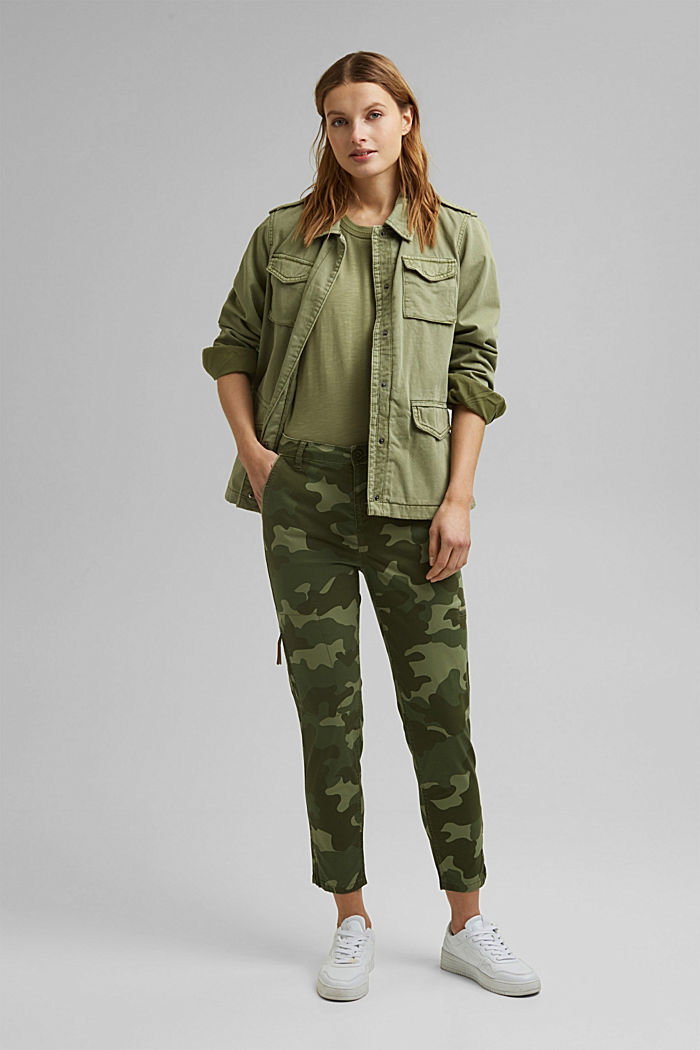 Camouflage cargo trousers made of pima cotton, LIGHT KHAKI, detail image number 1