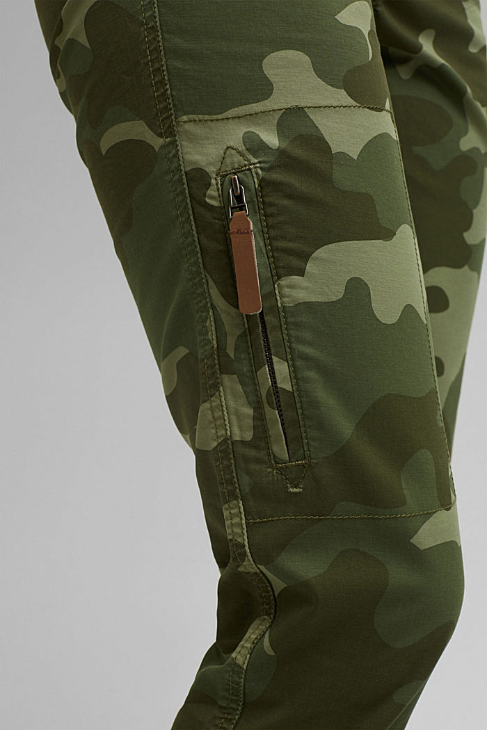 Camouflage cargo trousers made of pima cotton, LIGHT KHAKI, detail image number 2