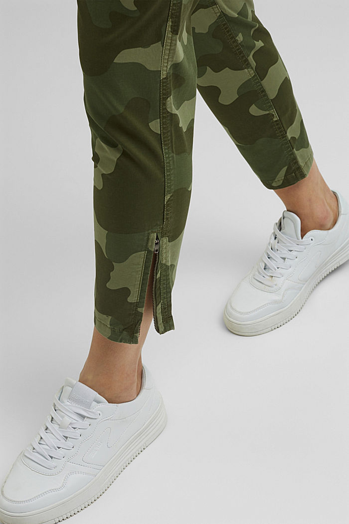 Camouflage cargo trousers made of pima cotton, LIGHT KHAKI, detail image number 5
