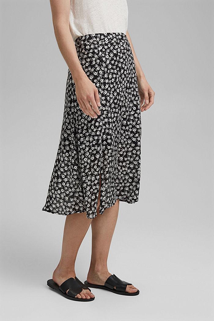 Spódnica midi w kwiaty z włókna LENZING™ ECOVERO™, BLACK, detail image number 0