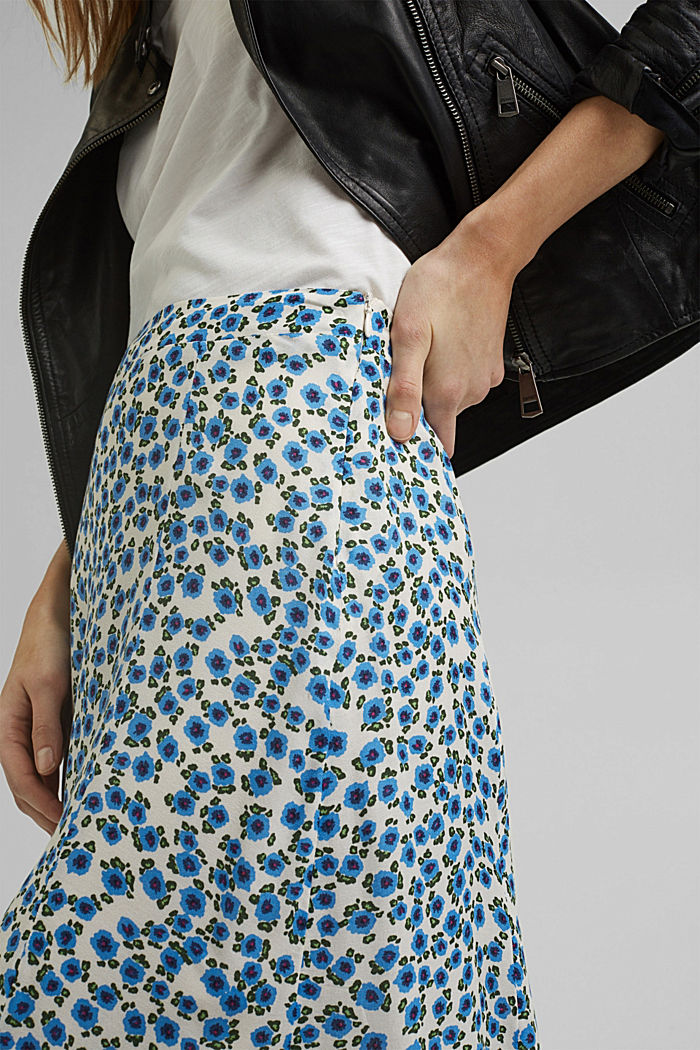 Floral midi skirt made of LENZING™ ECOVERO™, OFF WHITE, detail image number 2