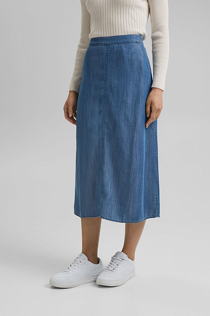 Made of TENCEL™: Denim look skirt, BLUE MEDIUM WASHED, detail image number 0