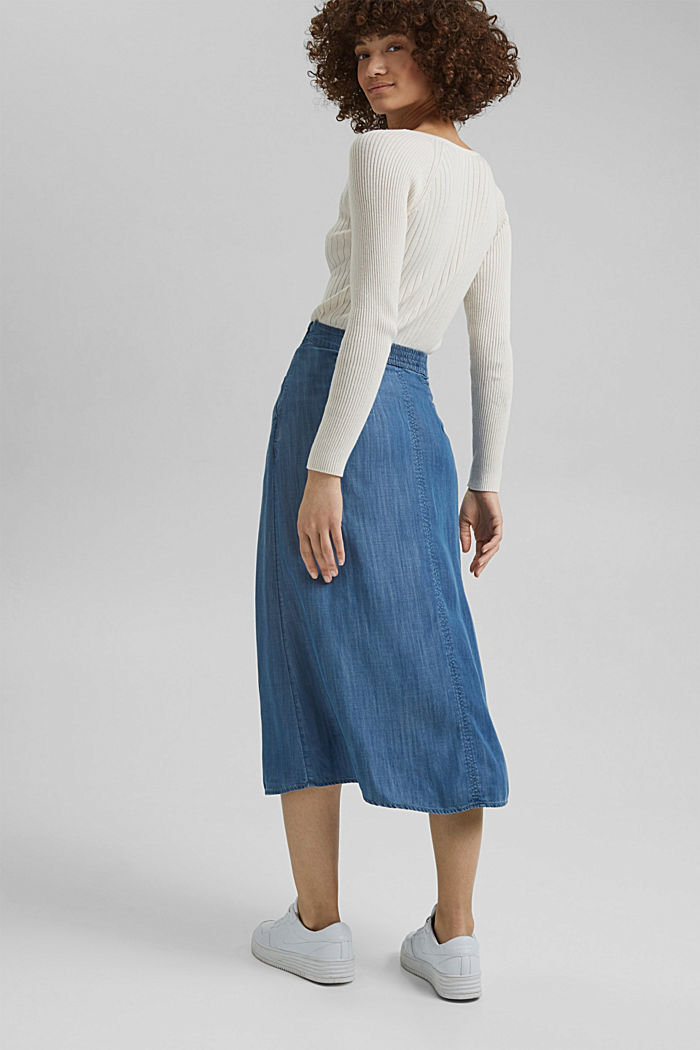 Made of TENCEL™: Denim look skirt, BLUE MEDIUM WASHED, detail image number 3
