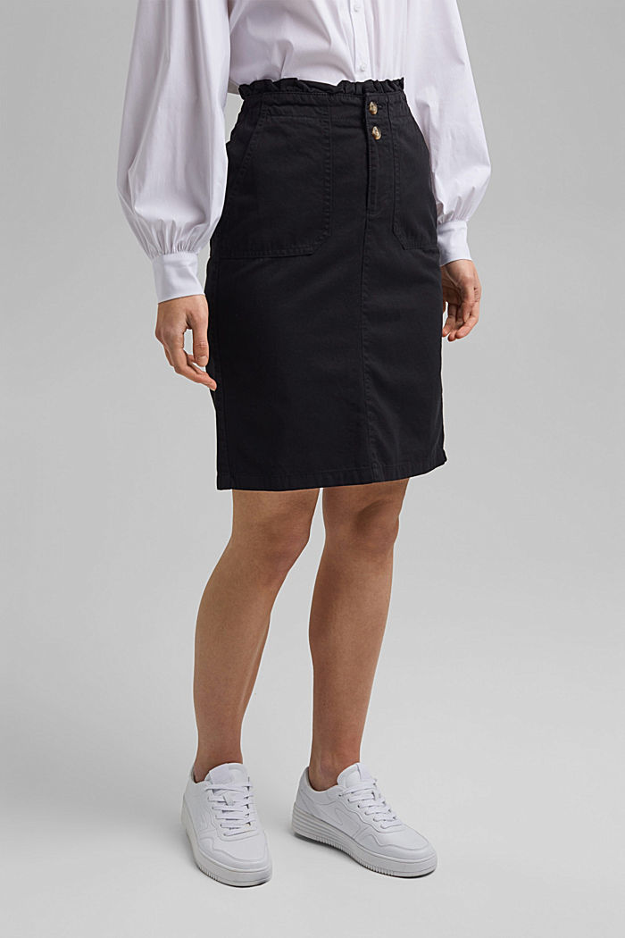 Utility skirt with a paperbag waistband, BLACK, detail image number 0