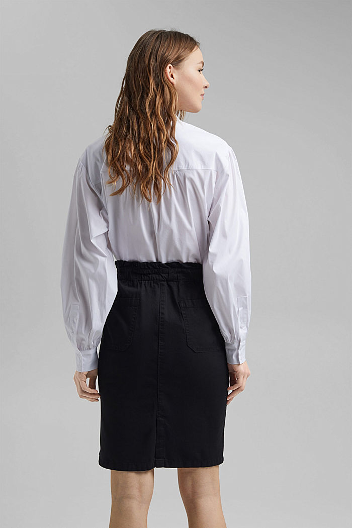 Utility skirt with a paperbag waistband, BLACK, detail image number 3
