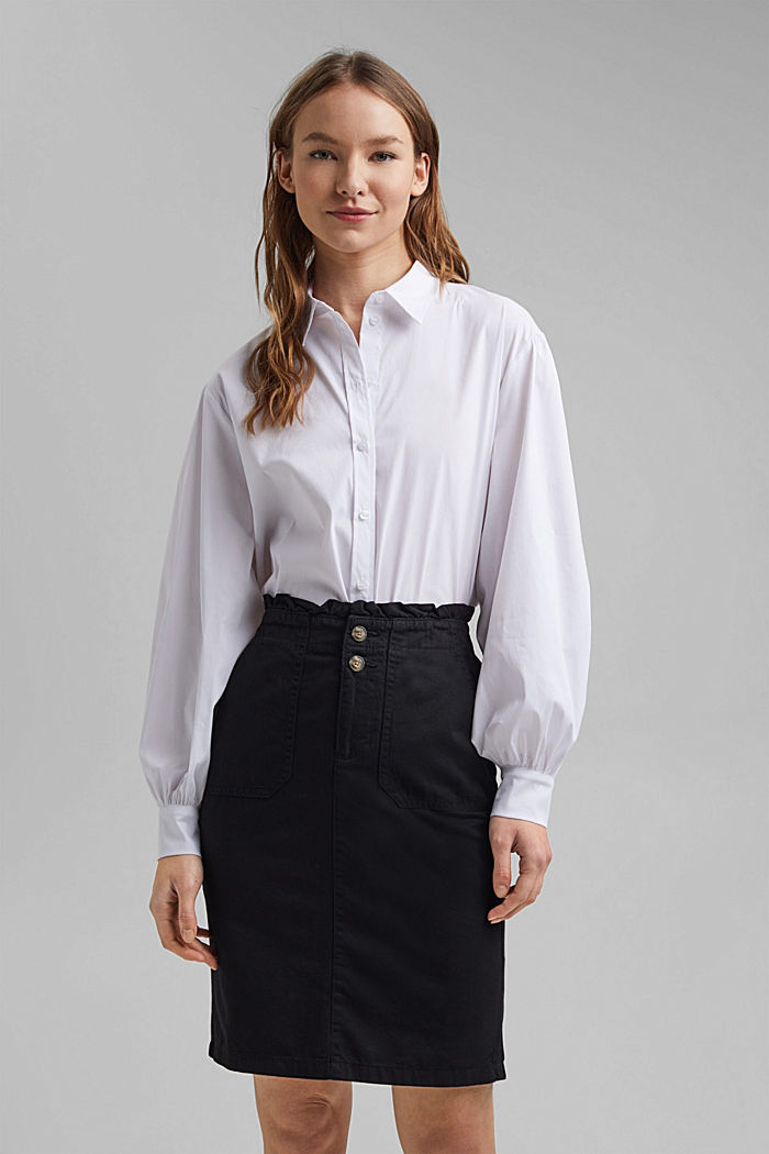 Utility skirt with a paperbag waistband, BLACK, detail image number 6