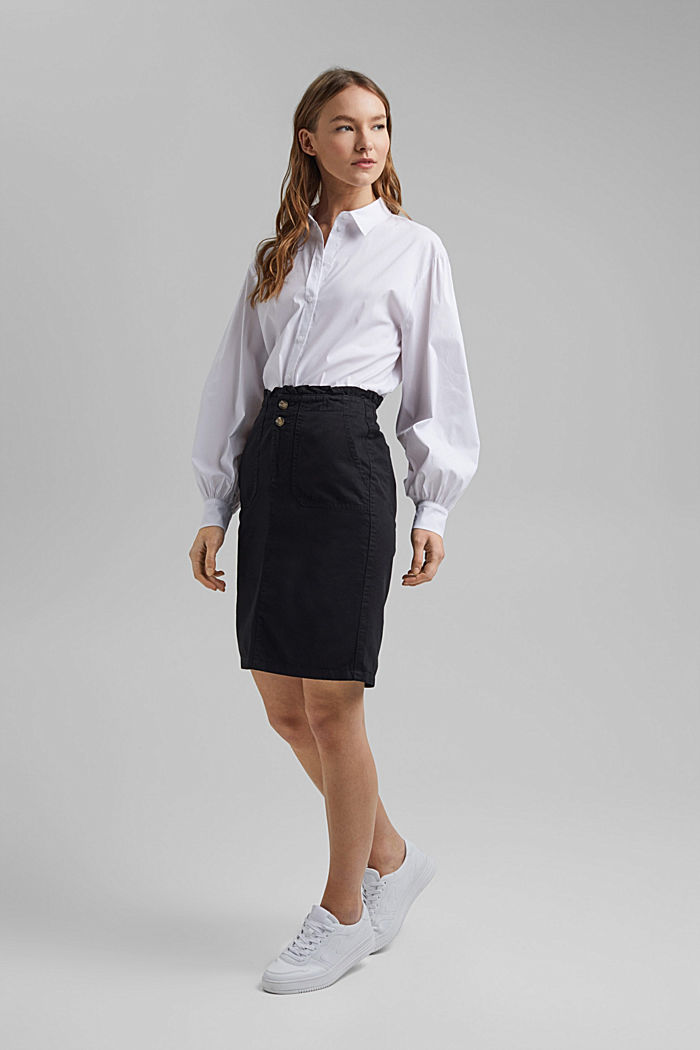 Utility skirt with a paperbag waistband, BLACK, detail image number 7