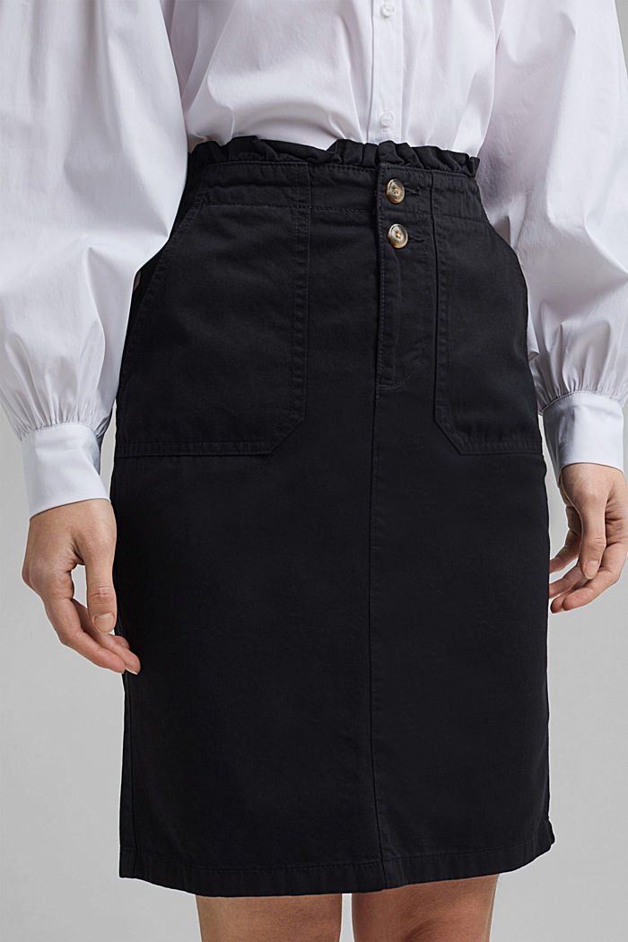 Utility skirt with a paperbag waistband, BLACK, detail image number 2