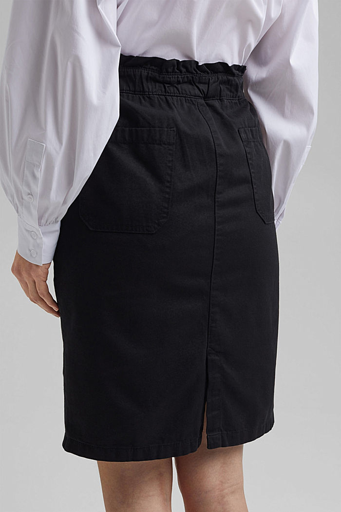 Utility skirt with a paperbag waistband, BLACK, detail image number 5