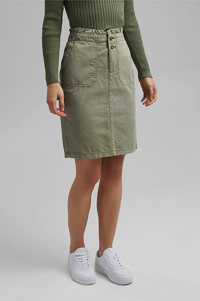 Utility skirt with a paperbag waistband, LIGHT KHAKI, detail image number 1