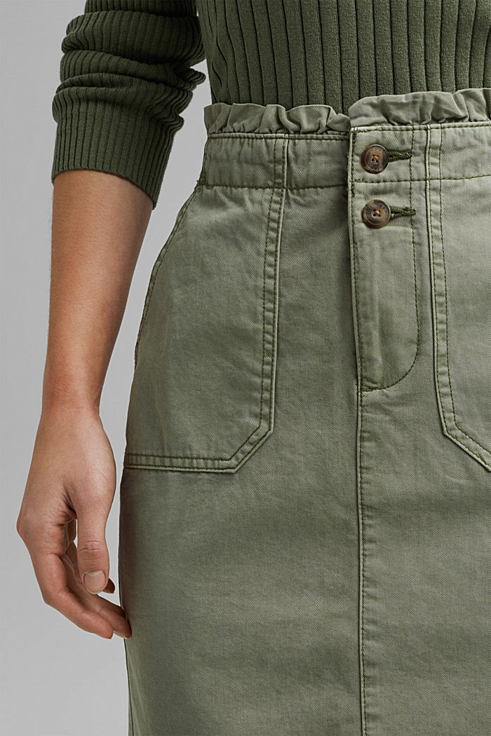 Utility skirt with a paperbag waistband, LIGHT KHAKI, detail image number 2