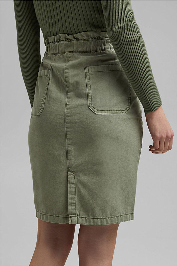 Utility skirt with a paperbag waistband, LIGHT KHAKI, detail image number 5