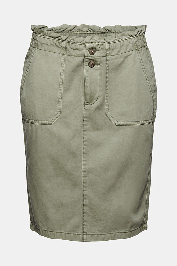 Utility skirt with a paperbag waistband, LIGHT KHAKI, detail image number 7