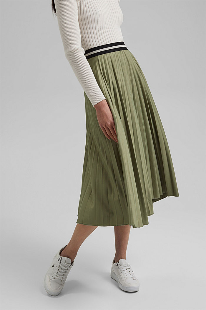 Pleated skirt with an elasticated waistband, LIGHT KHAKI, detail image number 0