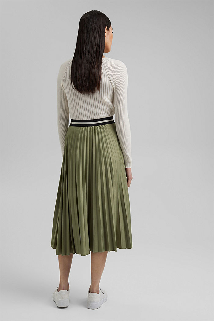 Pleated skirt with an elasticated waistband, LIGHT KHAKI, detail image number 3