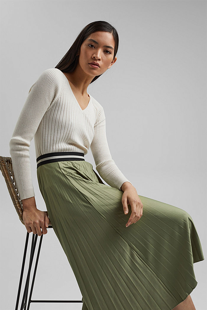 Pleated skirt with an elasticated waistband, LIGHT KHAKI, detail image number 5