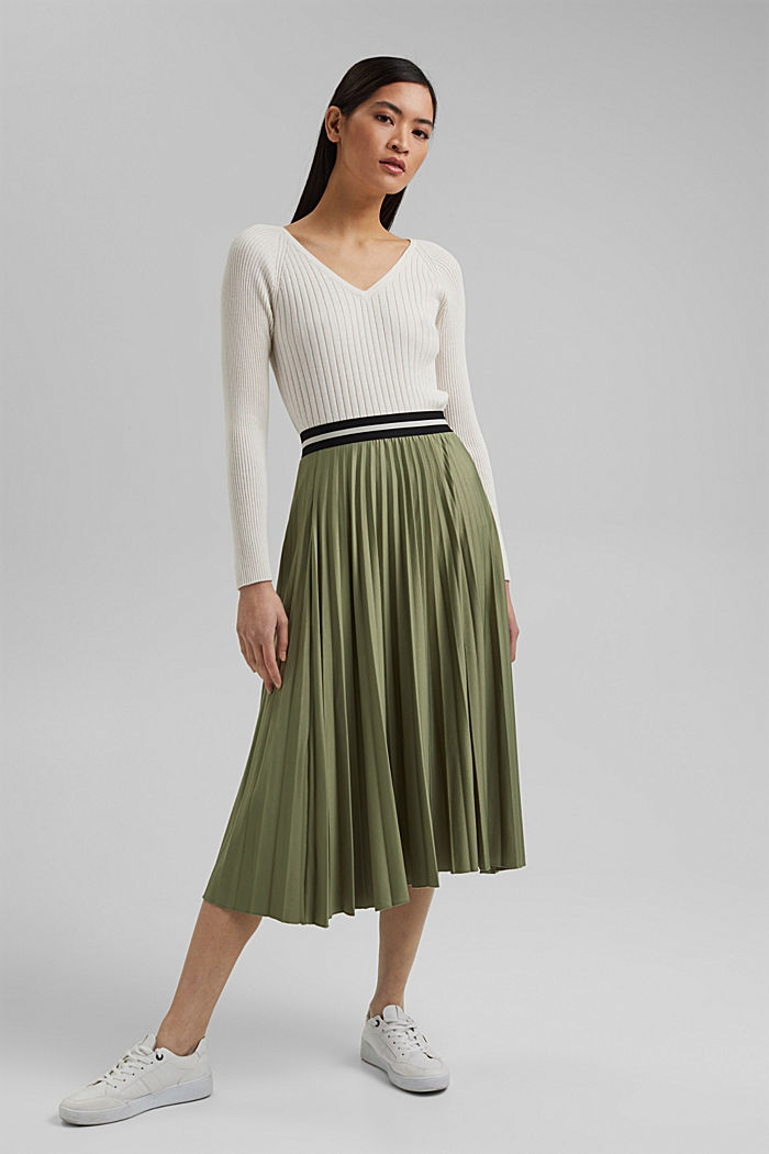Pleated skirt with an elasticated waistband, LIGHT KHAKI, detail image number 1