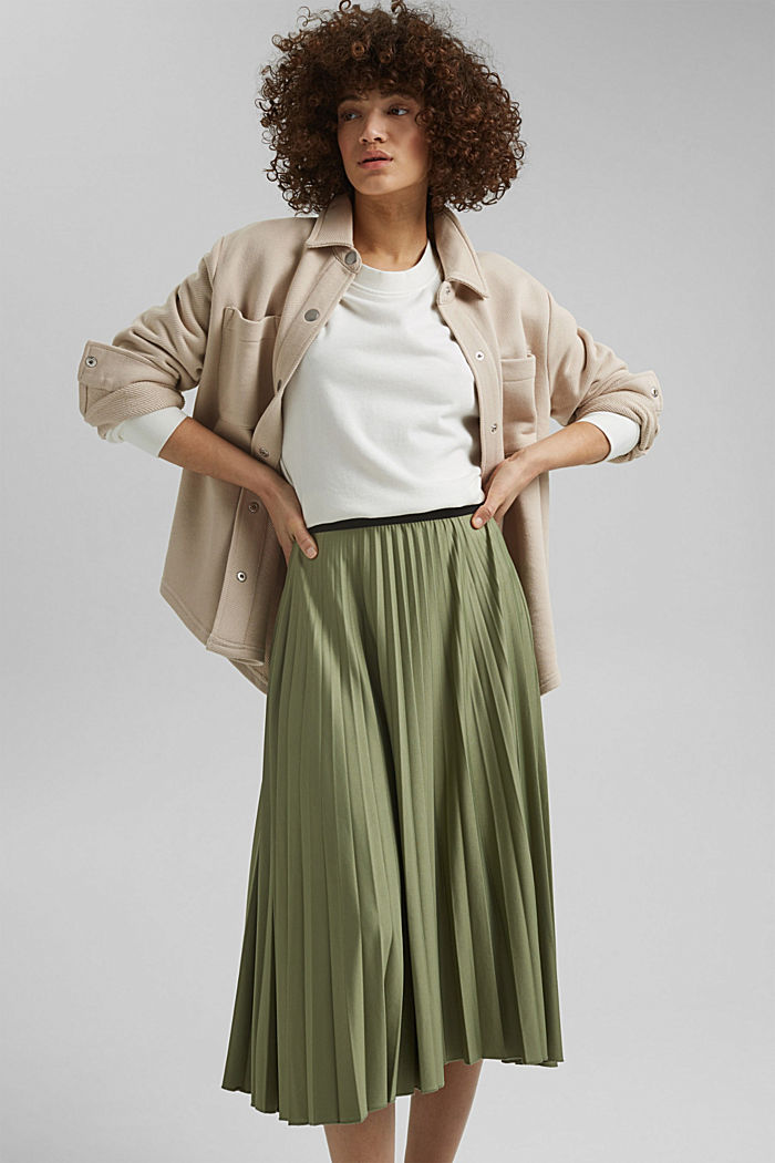 Pleated skirt with an elasticated waistband, LIGHT KHAKI, detail image number 6
