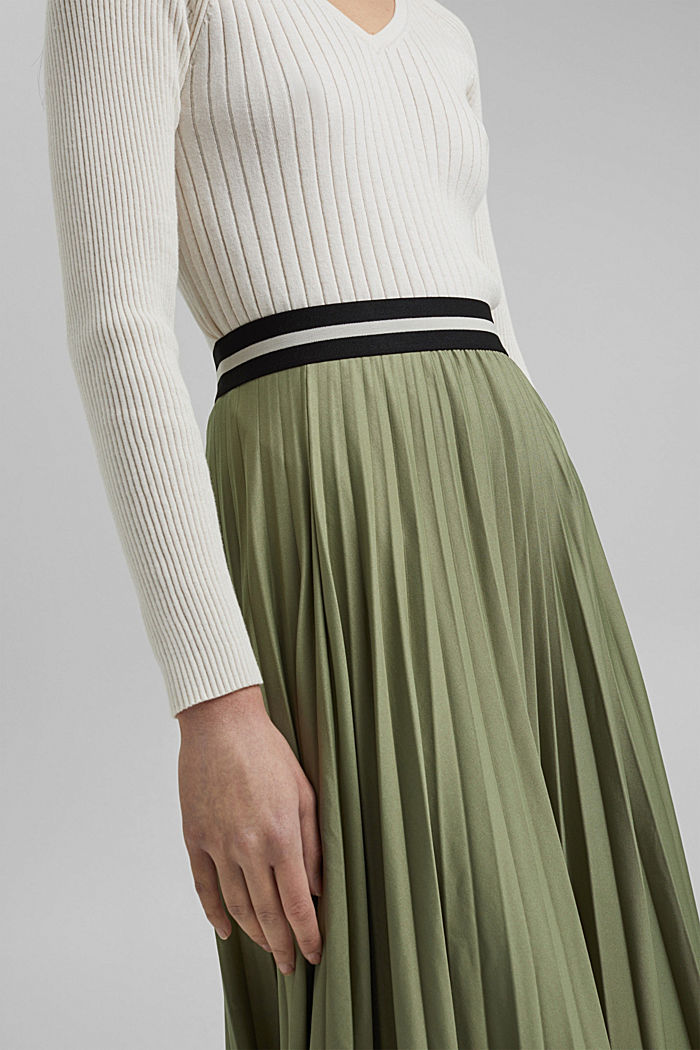 Pleated skirt with an elasticated waistband, LIGHT KHAKI, detail image number 2
