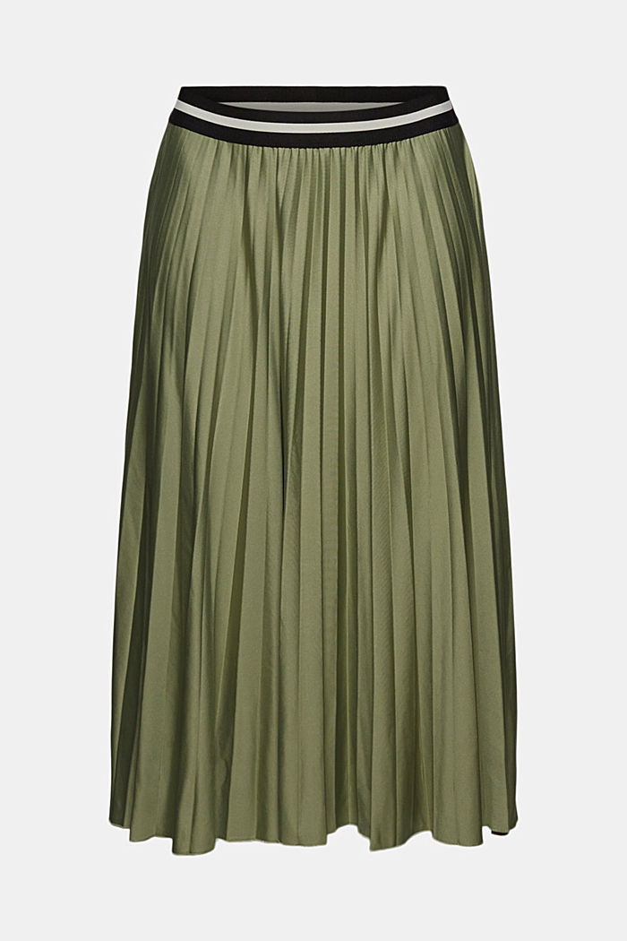Pleated skirt with an elasticated waistband, LIGHT KHAKI, detail image number 7