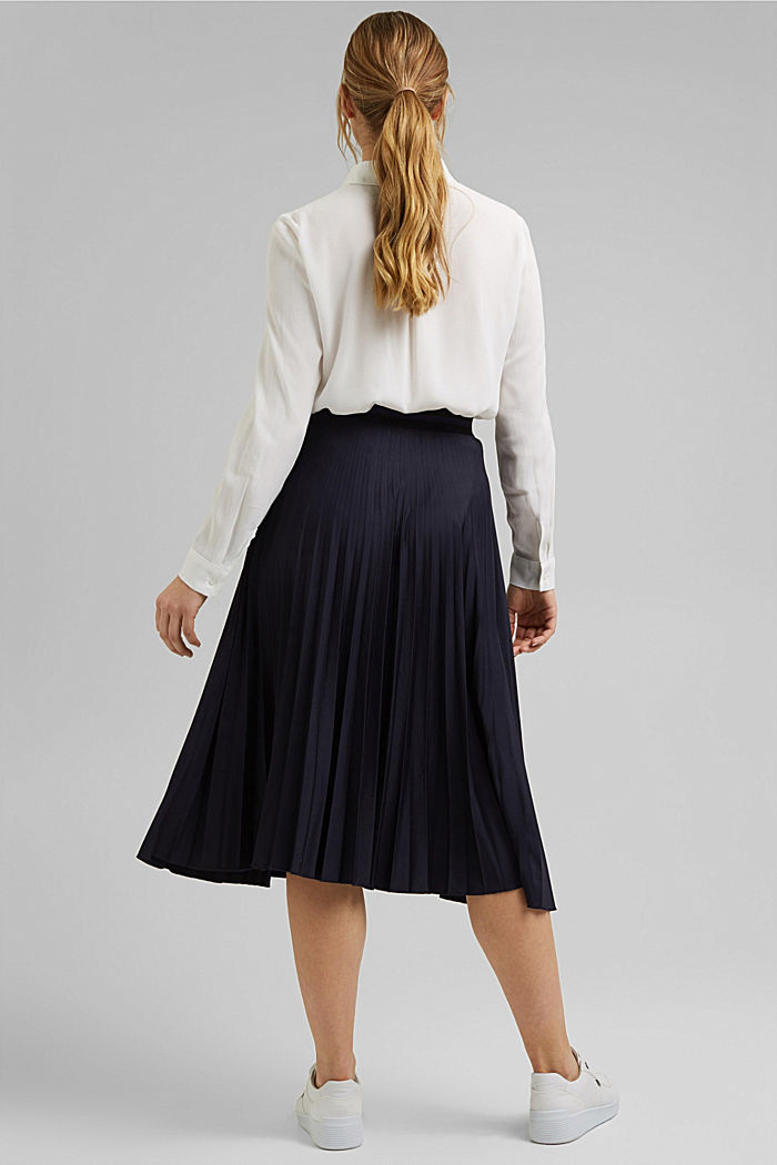 Pleated skirt with an elasticated waistband, NAVY, detail image number 3