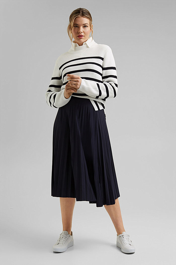 Pleated skirt with an elasticated waistband, NAVY, detail image number 1