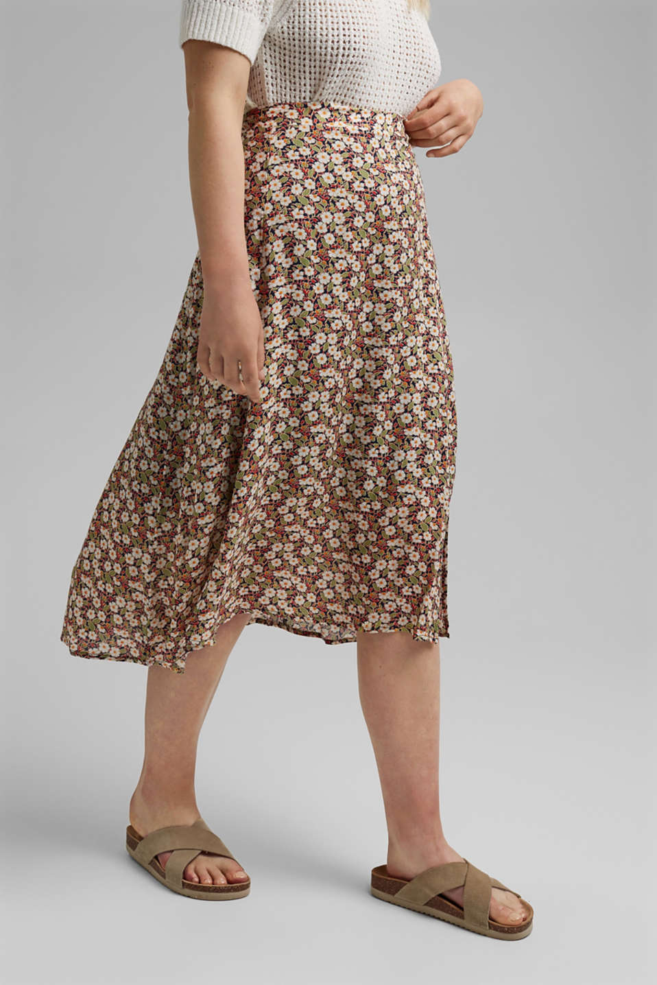Esprit - Floral midi skirt made of LENZING™ ECOVERO™