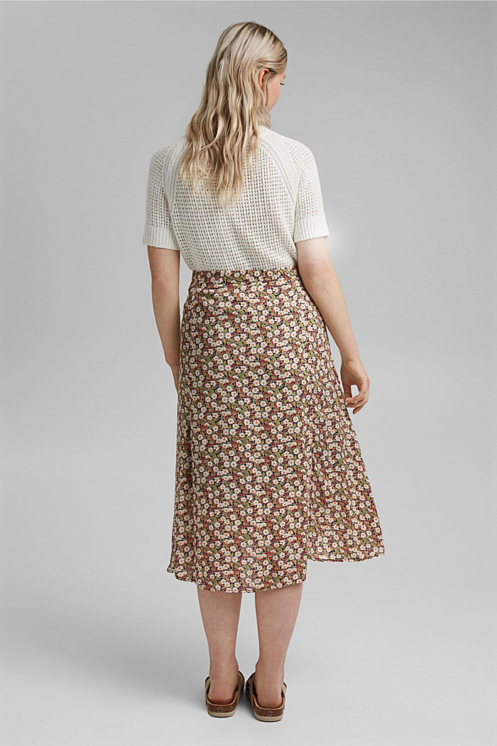 Floral midi skirt made of LENZING™ ECOVERO™, NAVY, detail image number 3
