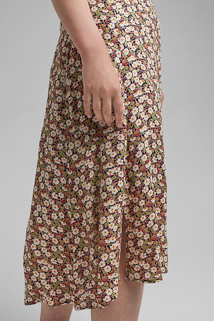 Floral midi skirt made of LENZING™ ECOVERO™, NAVY, detail image number 2