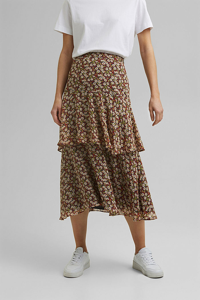 Recycled: Flounce midi skirt with a floral print, NAVY, detail image number 0