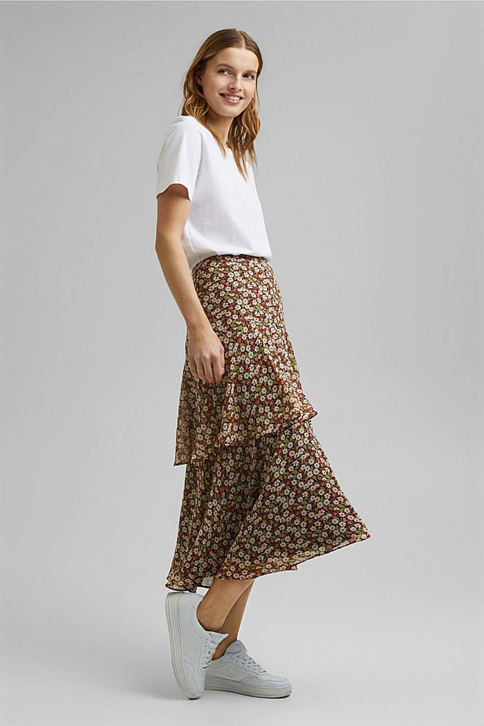 Recycled: Flounce midi skirt with a floral print, NAVY, detail image number 5